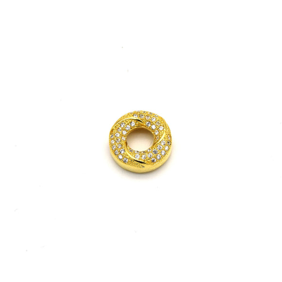 13mm x 13mm Gold Plated Cubic Zirconia Encrusted/Inlaid Swirled Donut/Ring Shaped Bead