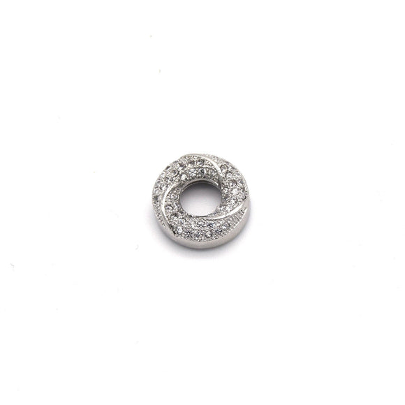 13mm x 13mm Silver Plated Cubic Zirconia Encrusted/Inlaid Swirled Donut/Ring Shaped Bead