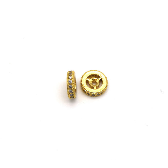 10mm x 10mm Gold Plated Cubic Zirconia Encrusted/Inlaid Eyed Donut/Ring Shaped Bead