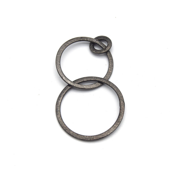30mm, 25mm, 10mm Interconnected Gunmetal Open Triple Circle/Ring Shaped Components - Pack of 10