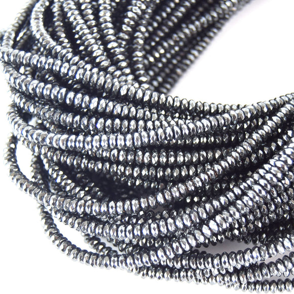 2mm x 4mm Faceted Natural  Hematite Rondelle Shape Beads - Quality Gemstone