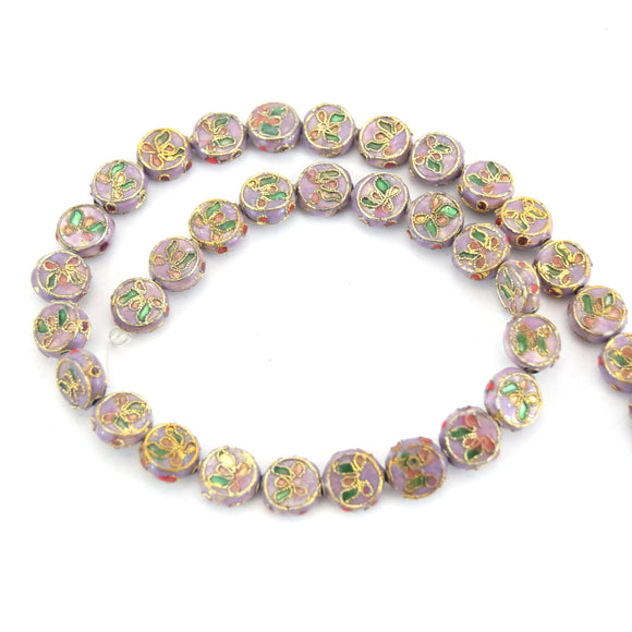 11mm Decorative Floral Lavender Puffed Drum Shaped Metal/Enamel Cloisonné Beads - Sold by 15