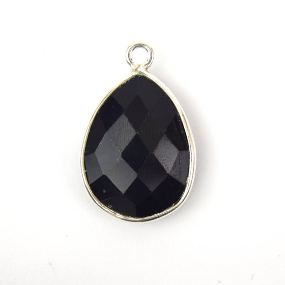 Silver Plated Faceted Hydro (Lab Created) Jet Black Onyx Heart/Teardrop Shaped Bezel Connector - Measuring 15mm x 20mm - Sold Individually