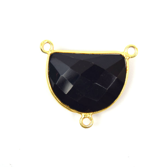 Gold Plated Faceted Hydro (Lab Created) Jet Black Onyx Half Moon Shaped Bezel Connector - Measuring 20mm x 10mm - Sold Individually