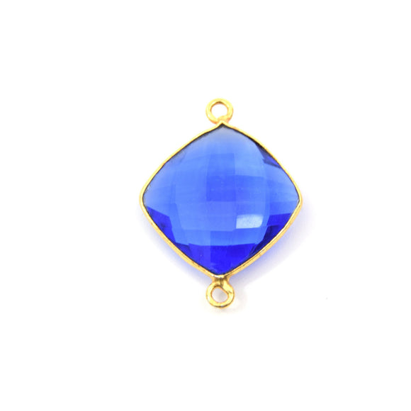Gold Plated Faceted Hydro (Lab Created) Transparent Cobalt Diamond Shaped Bezel Connector - Measuring 18mm x 18mm - Sold Individually