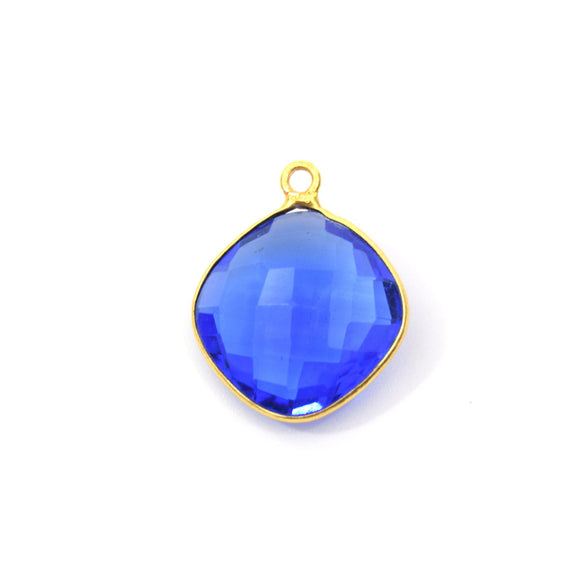 Gold Plated Faceted Hydro (Lab Created) Transparent Cobalt Diamond Shaped Bezel Pendant - Measuring 21mm x 21mm - Sold Individually