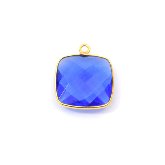 Gold Plated Faceted Hydro (Lab Created) Transparent Cobalt Square Shaped Bezel Pendant - Measuring 18mm x 18mm - Sold Individually