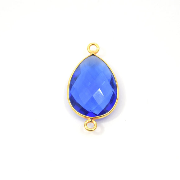 Gold Plated Faceted Hydro (Lab Created) Transparent Cobalt Teardrop Shaped Bezel Connector - Measuring 15mm x 20mm - Sold Individually