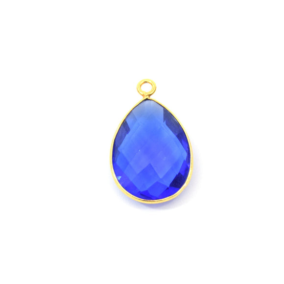 Gold Plated Faceted Hydro (Lab Created) Transparent Cobalt Teardrop Shaped Bezel Pendant - Measuring 10mm x 20mm - Sold Individually