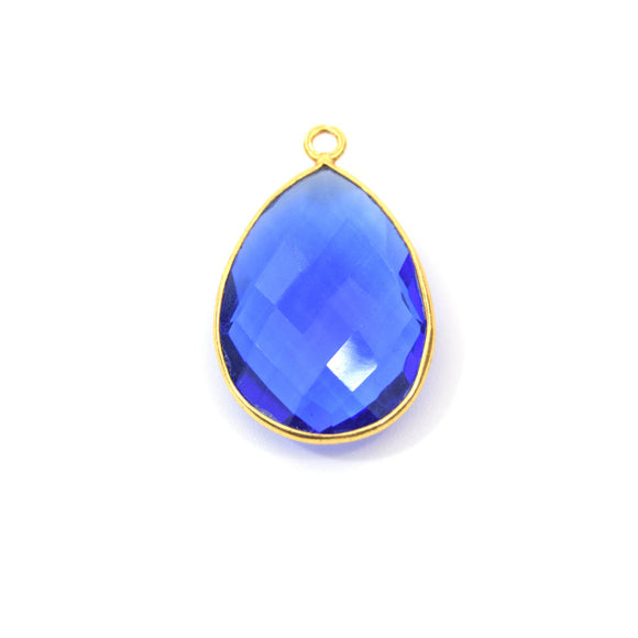 Gold Plated Faceted Hydro (Lab Created) Transparent Cobalt Teardrop Shaped Bezel Pendant - Measuring 18mm x 24mm - Sold Individually
