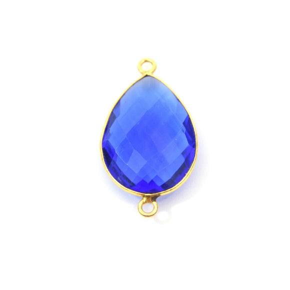 Gold Plated Faceted Hydro (Lab Created) Transparent Cobalt Teardrop Shaped Bezel Connector - Measuring 18mm x 25mm - Sold Individually