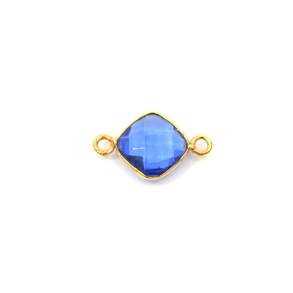 Gold Plated Faceted Hydro (Lab Created) Transparent Cobalt Diamond Shaped Bezel Connector - Measuring 9mm x 9mm - Sold Individually