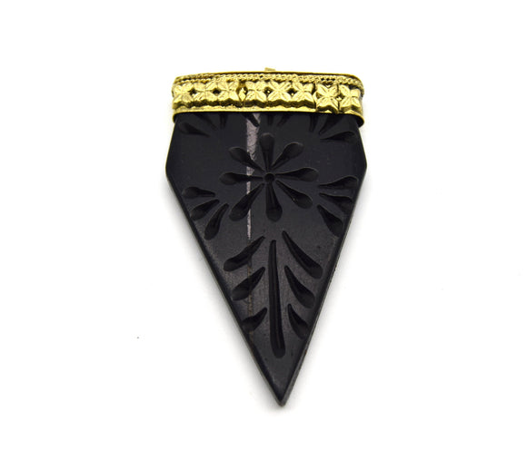 40mm x 70mm Carved Black Pointed Flat Arrow Shaped Natural Ox Bone Pendant with Gold Cap