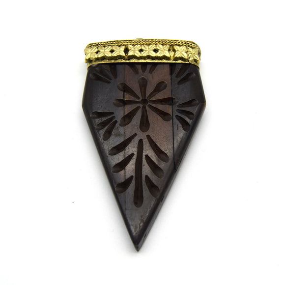 40mm x 70mm Carved Dark Brown Pointed Flat Arrow Shaped Natural Ox Bone Pendant with Gold Cap