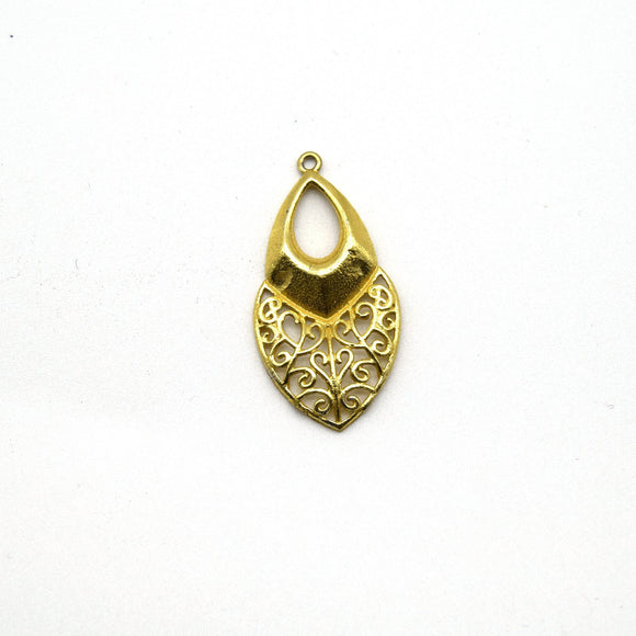 16mm x 28mm Gold Plated Symmetrical Cut-Out Domed Leaf/Teardrop Shaped Pendant - Sold Individually