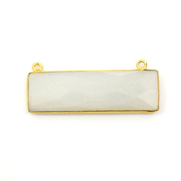 Gold Plated Faceted Natural Grey Moonstone Rectangle/Bar Shaped Bezel Connector - ~ 12mm x 40mm - Sold Individually, Chosen Randomly