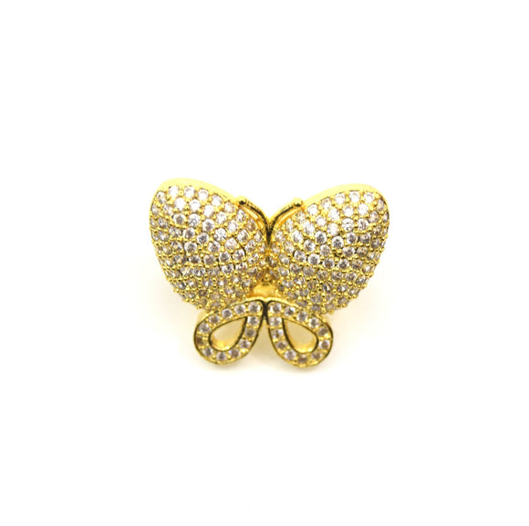 Gold Plated CZ Cubic Zirconia Inlaid Clear Butterfly Bolo Slide Copper - Measures 23mm x 28mm, Approx. - Sold Individually, RANDOM