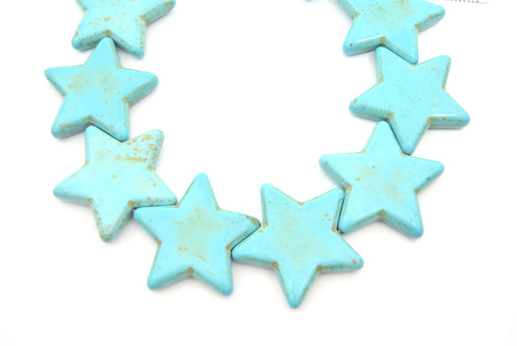 42mm Veined Turquoise Howlite Star Shaped Beads with 1mm Holes - (Approx. 16.5