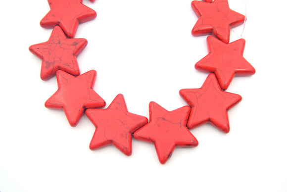 35mm Bright Red Veined Howlite Star Shaped Beads with 1mm Holes - (Approx. 15.5