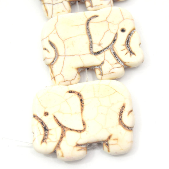 40mm Smooth Brown Veined Ivory Howlite Elephant Shaped Beads - (Approx. 14