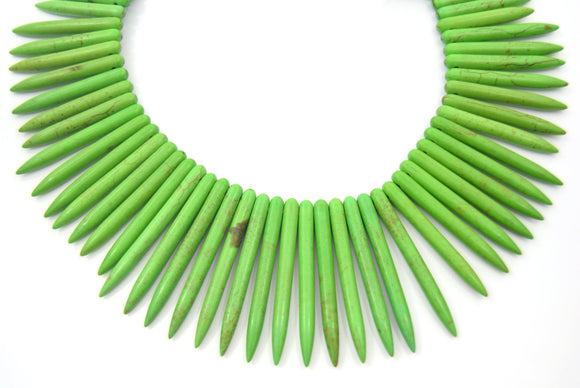 48mm Smooth Brown Veined Lime Green Howlite Graduated Stick Beads - (Approx. 15