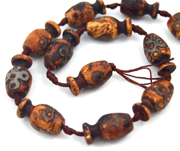 25mm Natural Yellow Ochre/Brown/Green Tibetan Agate Vase Shape Beads - (Approx. 15.5