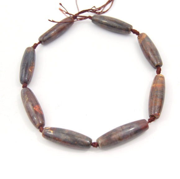 40mm Smooth Marbled Neutral Brown/Gold Dyed Agate Tube/Barrel Shaped Beads - (Approx. 15