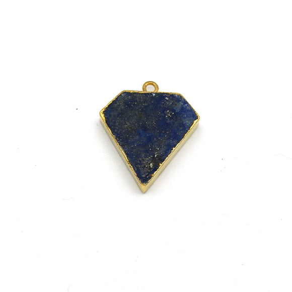 20mm x 20mm Gold Plated Natural Mixed Blue Lapis Lazuli Flat Shield Shaped Pendant