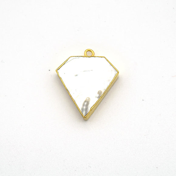 20mm x 20mm Gold Plated Natural Iridescent White Abalone Flat Shield Shaped Pendant