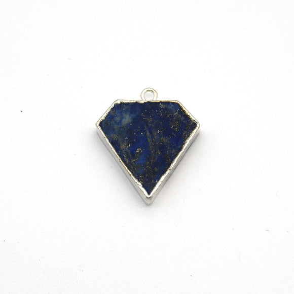 20mm x 20mm Silver Plated Natural Mixed Blue Lapis Lazuli Flat Shield Shaped Pendant