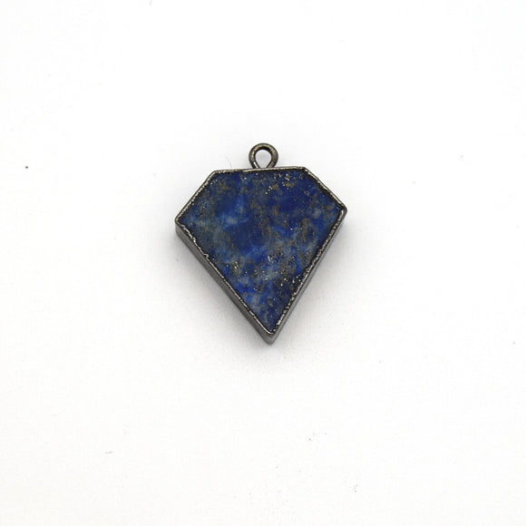20mm x 20mm Gunmetal Plated Natural Mixed Blue Lapis Lazuli Flat Shield Shaped Pendant