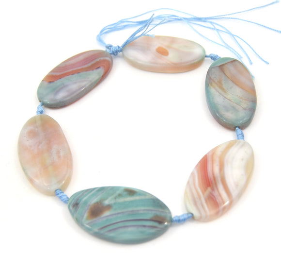 50mm Smooth Marbled Neutral Blue/Green Dyed Agate Tube/Barrel Shaped Beads - (Approx. 13