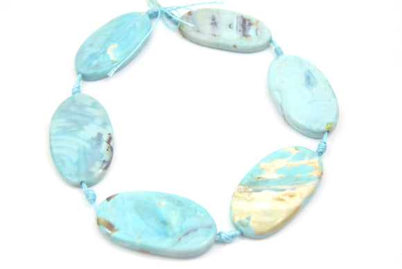 40mm Smooth Marbled Sky Blue Dyed Agate Oval Shaped Beads - (Approx. 14