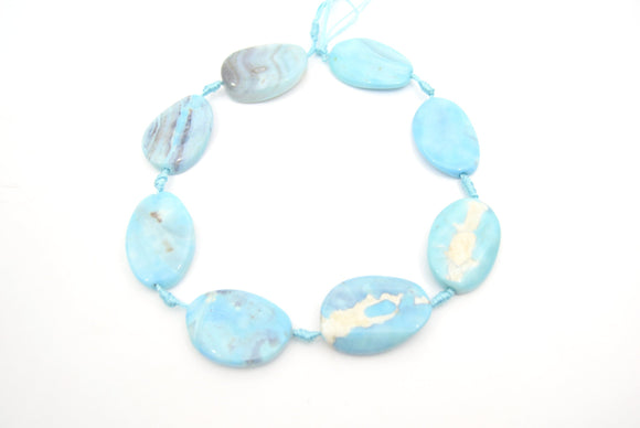 23mm x 35mm Smooth Marbled Sky Blue Dyed Agate Oval Shaped Beads - (Approx. 14