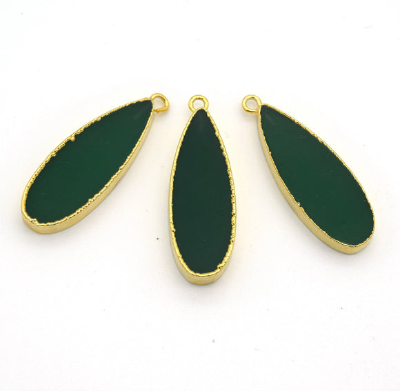 11mm x 30mm Gold Plated Natural Green Jade Long Teardrop Shaped Flat Pendant - Sold Individually