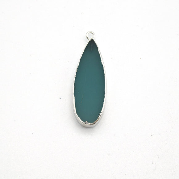 11mm x 30mm Silver Plated Natural Semi-Transparent Pale Teal Agate Long Teardrop Shaped Flat Pendant