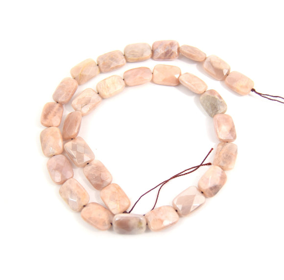14mm Natural Peach Moonstone Faceted Rectangle Shaped Beads - (Approx. 16