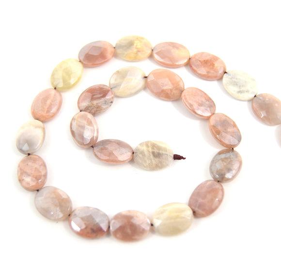 16mm Natural Peach Moonstone Faceted Oval Shaped Beads - (Approx. 16