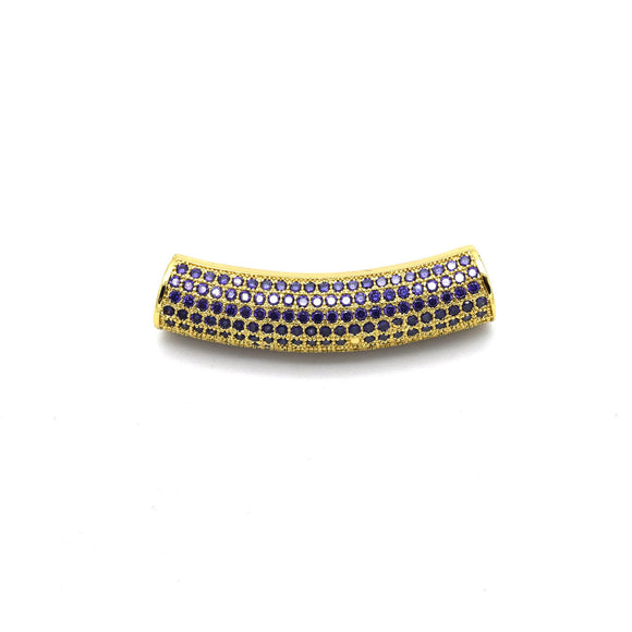 36mm Gold Plated CZ Cubic Zirconia Inlaid Curved Tube/Macaroni Shaped Bead with Purple CZ