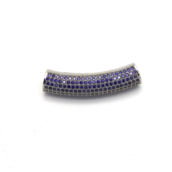 36mm Silver Plated CZ Cubic Zirconia Inlaid Curved Tube/Macaroni Shaped Bead with Purple CZ