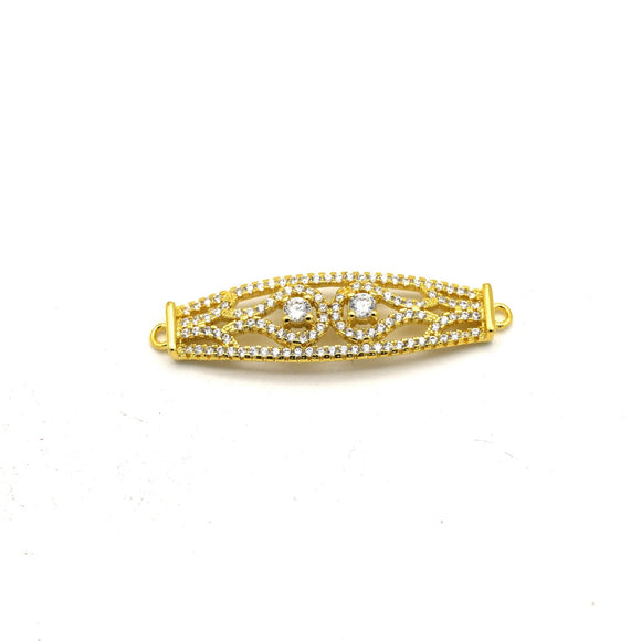 35mm x 10mm Gold Plated CZ Cubic Zirconia Curved Ornate Band Shaped Connector