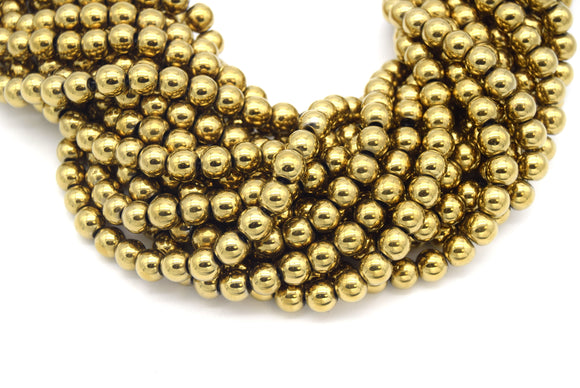 7mm Smooth Natural Gold Hematite Round/Ball Shaped Beads - (Approx. 15.5