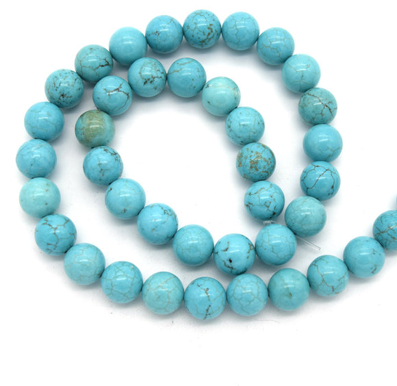 10mm x 10mm Smooth Reconstituted Turquoise Ball/Round Shaped Beads - (Approx. 17