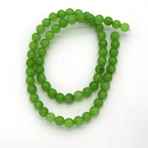 "6mm x 6mm Bright Lime Green Natural Jade Small Round/Ball Shaped Beads - (Approx. 15"" ~60 Beads)"