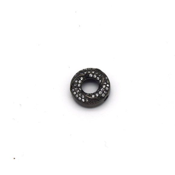 13mm x 13mm Gunmetal Plated Cubic Zirconia Encrusted/Inlaid Swirled Donut/Ring Shaped Bead