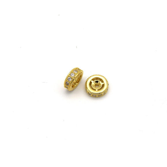 8mm x 8mm Gold Plated Cubic Zirconia Encrusted/Inlaid Eyed Donut/Ring Shaped Bead