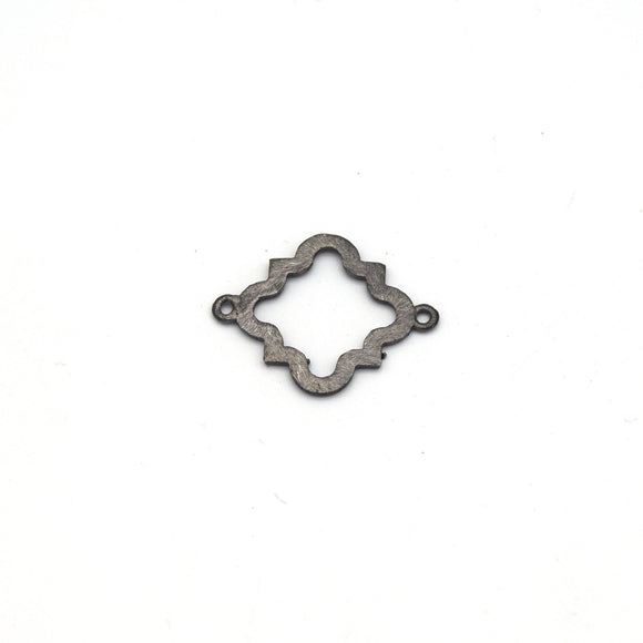 20mm Gunmetal Brushed Finish Open Squared Quatrefoil Shaped Plated Copper Connectors - Pack of 10