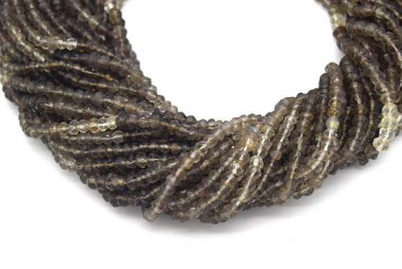 5mm Faceted Natural Mixed Light Gray Smoky Quartz Rondelle Shaped Beads - 13.5