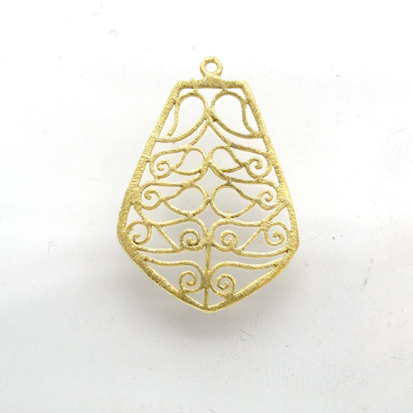 28mm x 36mm Gold Plated Open Symmetrical Swirl Cut-Out Bell/Pear Shaped Components - Packs of 10