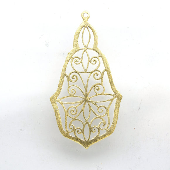 28mm x 50mm Gold Plated Open Symmetrical Swirl Cut-Out Pointed Pear Shaped Components - Packs of 10